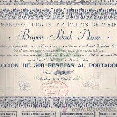 Coleccionismo Acciones Españolas: ACCIÓN DE MANUFACTURAS DE ARTICULOS DE VIAJE BAYER SA BARCELONA 1942. Lote 32534126