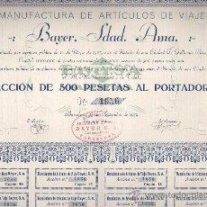 Coleccionismo Acciones Españolas: ACCIÓN DE MANUFACTURAS DE ARTICULOS DE VIAJE BAYER SA BARCELONA 1939. Lote 32534202