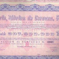 Coleccionismo Acciones Españolas: ACCIÓN EL TURIA FABRICA DE CERVEZA SA 1970 VALENCIA. Lote 32595951