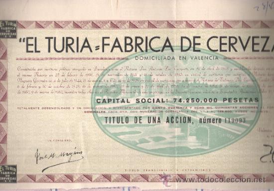 ACCIÓN EL TURIA FABRICA DE CERVEZA SA 1962 VALENCIA (Coleccionismo - Acciones Españolas)