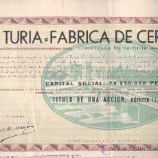 Coleccionismo Acciones Españolas: ACCIÓN EL TURIA FABRICA DE CERVEZA SA 1962 VALENCIA. Lote 32595963