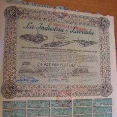 Coleccionismo Acciones Españolas: LA INDUSTRIA Y LAVIADA 1949 MADRID. Lote 32590191