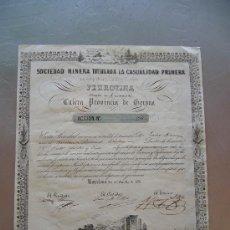 Coleccionismo Acciones Españolas: ACCIÓN SOCIEDAD MINERA TITULADA LA CASUALIDAD PRIMERA PERROTINA GERONA 1851. Lote 32608019
