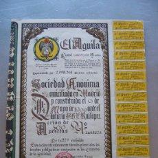 Coleccionismo Acciones Españolas: ACCIÓN CERVEZA EL AGUILA S.A. 1966. Lote 32608275
