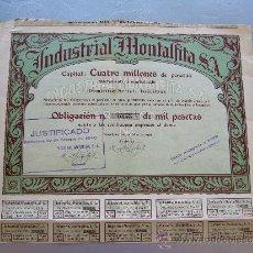 Coleccionismo Acciones Españolas: ACCIÓN INDUSTRIAL MONTALFITA S.A. 1935 BARCELONA. Lote 32608359