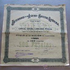 Coleccionismo Acciones Españolas: ACCIÓN DERIVADOS DE LOS AGRIOS S.A. 1934 VALENCIA. Lote 32608416