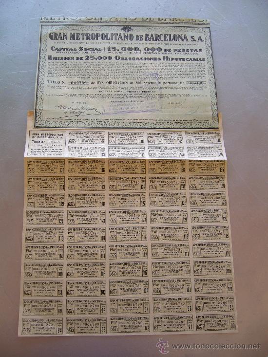 ACCIÓN GRAN METROPOLITANO DE BARCELONA S.A. 1925 (Coleccionismo - Acciones Españolas)