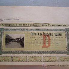 Coleccionismo Acciones Españolas: ACCIÓN COMPAÑIA DE LOS FERROCARRILES VASCONGADOS 1906. Lote 32608708