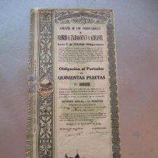 Coleccionismo Acciones Españolas: ACCIÓN COMPAÑIA DE LOS FERROCARRILES MADRID A ZARAGOZA Y ALICANTE 1918 MZA. Lote 32608852