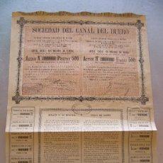 Coleccionismo Acciones Españolas: ACCIÓN SOCIEDAD DEL CANAL DEL DUERO 1887. Lote 32609304