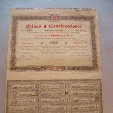 Coleccionismo Acciones Españolas: ACCIÓN MINAS Y CONSTRUCCIONES S.A. 1888 BARCELONA. Lote 32609486