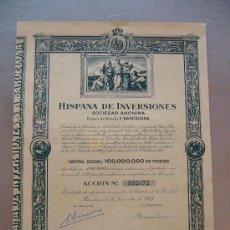 Coleccionismo Acciones Españolas: ACCIÓN HISPANA DE INVERSIONES 1953 BARCELONA. Lote 32609744