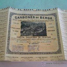 Coleccionismo Acciones Españolas: ACCIÓN CARBONES DE BERGA BARCELONA 1930. Lote 32675850