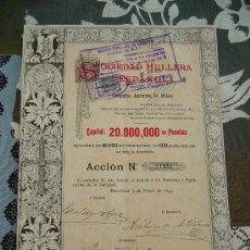 Coleccionismo Acciones Españolas: ACCIÓN SOCIEDAD HULLERA ESPAÑOLA 1893. Lote 32801411