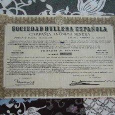 Coleccionismo Acciones Españolas: ACCIÓN SOCIEDAD HULLERA ESPAÑOLA 1950. Lote 32801426