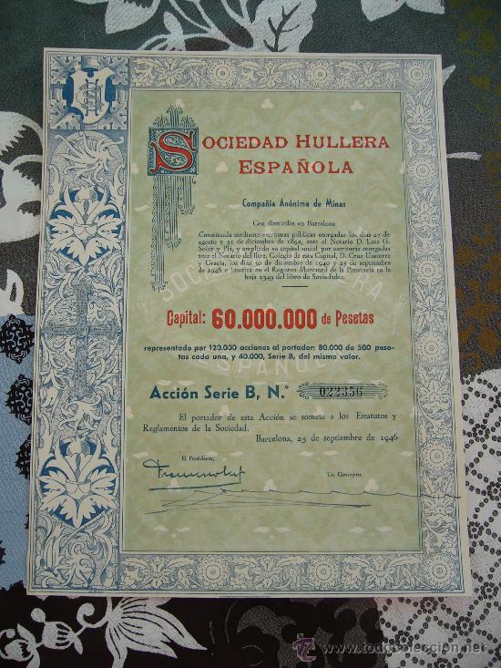 ACCIÓN SOCIEDAD HULLERA ESPAÑOLA 1946 (Coleccionismo - Acciones Españolas)