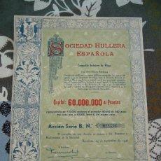 Coleccionismo Acciones Españolas: ACCIÓN SOCIEDAD HULLERA ESPAÑOLA 1946. Lote 32801441