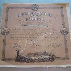 Coleccionismo Acciones Españolas: ACCIÓN SOCIEDAD MINERA TITULADA DUDOSA BARCELONA 1850. Lote 32888591