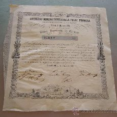 Coleccionismo Acciones Españolas: ACCIÓN SOCIEDAD MINERA TITULADA LA FELIZ PRIMERA NAUFRAGIO CULERA GERONA BARCELONA 1851. Lote 32888678