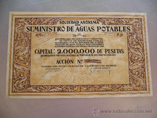 ACCIÓN SOCIEDAD ANÓNIMA DE SUMINISTROS DE AGUAS POTABLES - BARCELONA 1924 (Coleccionismo - Acciones Españolas)