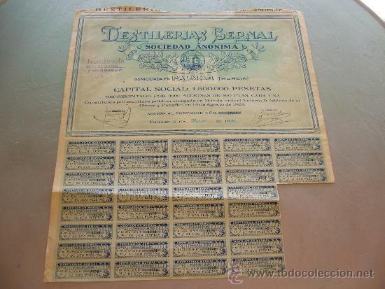 ACCIÓN DESTILERIAS BERNAL S.A. PALMAR (MURCIA) 1929 (Coleccionismo - Acciones Españolas)