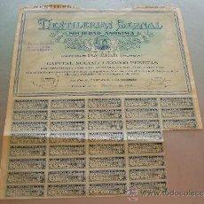 Coleccionismo Acciones Españolas: ACCIÓN DESTILERIAS BERNAL S.A. PALMAR (MURCIA) 1929. Lote 32889584