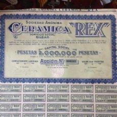Coleccionismo Acciones Españolas: ACCIONES: SOCIEDAD ANONIMA CERAMICA REX. BILBAO-1939. Lote 32900617