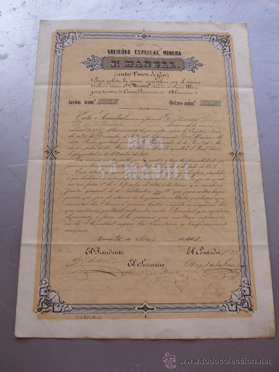 ACCIÓN DE LA SOCIEDAD ESPECIAL MINERA SAN MANUEL - LORCA 1863 SIERRA ALMAGRERA CUEVAS ALMERÍA (Coleccionismo - Acciones Españolas)