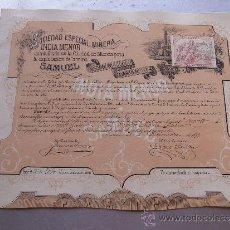 Coleccionismo Acciones Españolas: ACCIÓN DE LA SOCIEDAD ESPECIAL MINERA INDIA MENOR MINA SAMUEL MURCIA 1879 ALGAR CARTAGENA. Lote 33084754