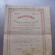 Coleccionismo Acciones Españolas: ACCIÓN DE LA SOCIEDAD ESPECIAL MINERA VALENTINA CUEVAS DE VERA 1866 SIERRA ALMAGRERA. Lote 33084918