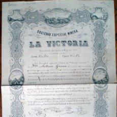 Coleccionismo Acciones Españolas: ACCIÓN SOCIEDAD MINERA LA VICTORIA. MURCIA, 1877. Nº 50. 27 X 40 CM. Lote 33395695