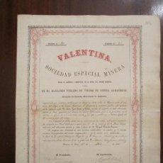 Coleccionismo Acciones Españolas: ACCIÓN VALENTINA. SOCIEDAD ESPECIAL MINERA. CUEVAS DE VERA (ALMERÍA), 1866.. Lote 33395818