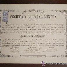 Coleccionismo Acciones Españolas: ACCIÓN LOS MINISTROS SOCIEDAD ESPECIAL MINERA. LINARES, 1873.. Lote 33395977