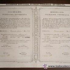 Coleccionismo Acciones Españolas: ACCIÓN SOCIEDAD ESPECIAL MINERA PODEROSA ENVIDIADA. CUEVAS (ALMERÍA) , 1870.. Lote 33396223