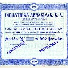 Coleccionismo Acciones Españolas: ACCION, INDUSTRIAS ABRASIVAS , VALENCIA 1935 ,LEER DESCRIPCION ,ORIGINAL, AC56. Lote 33485460