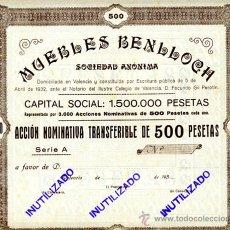 Coleccionismo Acciones Españolas: ACCION, MUEBLES BENLLOCH , VALENCIA ,LEER DESCRIPCION ,ORIGINAL, AC57. Lote 33485482