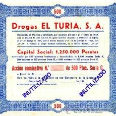 Coleccionismo Acciones Españolas: ACCION, DROGAS EL TURIA , VALENCIA ,LEER DESCRIPCION ,ORIGINAL, AC58. Lote 33485491