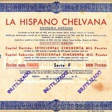 Coleccionismo Acciones Españolas: ACCION, LA HISPANO CHELVANA AUTOBUSES , CHELVA VALENCIA ,LEER DESCRIPCION ,ORIGINAL, AC59. Lote 33485519