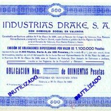 Coleccionismo Acciones Españolas: ACCION, INDUSTRIAS DRAKE , VALENCIA 1935 ,LEER DESCRIPCION ,ORIGINAL, AC62. Lote 33485604
