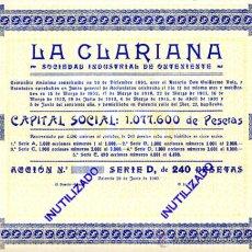Coleccionismo Acciones Españolas: ACCION, LA CLARIANA , VALENCIA 1940 ,LEER DESCRIPCION ,ORIGINAL, AC63. Lote 33485631