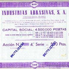 Coleccionismo Acciones Españolas: ACCION, INDUSTRIAS ABRASIVAS , VALENCIA 1944 ,LEER DESCRIPCION ,ORIGINAL, AC65. Lote 33485676