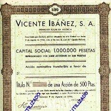 Coleccionismo Acciones Españolas: ACCION, VICENTE IBAÑEZ , VALENCIA 1946 ,LEER DESCRIPCION ,ORIGINAL, AC71. Lote 33485831