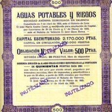 Coleccionismo Acciones Españolas: ACCION, AGUAS POTABLES Y RIEGOS , VALENCIA 1935 ,LEER DESCRIPCION ,ORIGINAL, AC77. Lote 33486025