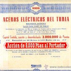 Coleccionismo Acciones Españolas: ACCION, ACEROS ELECTRICOS DEL TURIA , VALENCIA 1954 ,LEER DESCRIPCION ,ORIGINAL, AC87. Lote 33486196