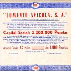 Coleccionismo Acciones Españolas: ACCION, FOMENTO AVICOLA , VALENCIA 1956 ,LEER DESCRIPCION ,ORIGINAL, AC90. Lote 33486237