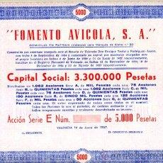 Coleccionismo Acciones Españolas: ACCION, FOMENTO AVICOLA , VALENCIA 1957 5000 ,LEER DESCRIPCION ,ORIGINAL, AC97. Lote 33487776
