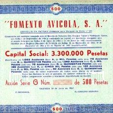 Coleccionismo Acciones Españolas: ACCION, FOMENTO AVICOLA , VALENCIA 1957 500 ,LEER DESCRIPCION ,ORIGINAL, AC98. Lote 33487782