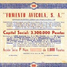 Coleccionismo Acciones Españolas: ACCION, FOMENTO AVICOLA , VALENCIA 1957 1000 ,LEER DESCRIPCION ,ORIGINAL, AC99. Lote 33487792