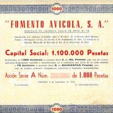 Coleccionismo Acciones Españolas: ACCION, FOMENTO AVICOLA 1000 PTS , VALENCIA 1954 ,LEER DESCRIPCION ,ORIGINAL, AC108. Lote 33487907