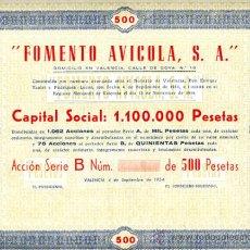 Coleccionismo Acciones Españolas: ACCION, FOMENTO AVICOLA 500 PTS , VALENCIA 1954 ,LEER DESCRIPCION ,ORIGINAL, AC109. Lote 33487914